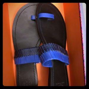 Tory Burch Neptune woven blue/black slide sandal